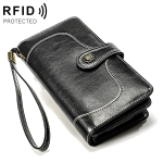 3555 Large Capacity Long Multi-function Anti-magnetic RFID Wallet Clutch for Ladies with Card Slots (Black)