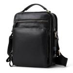 6028 Multifunctional Fashion Top-grain Leather Messenger Bag Casual Men Shoulder Bag (Black)