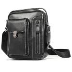 6029 Multifunctional Fashion Top-grain Leather Messenger Bag Casual Men Shoulder Bag (Black)