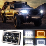 5 inch H4 DC 9V-30V 5000LM 6000K/3000K 45W IP67 Car Square Shape LED Headlight Lamps for Jeep Wrangler, with Aperture