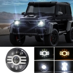 7 inch H4 DC 9V-30V 6000LM 6000K/3000K 55W IP67 6LED Lamp Beads Car Round Shape LED Headlight Lamps for Jeep Wrangler, with Angel Eye