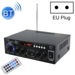 BT-608 220V Household / Car Bluetooth HIFI Amplifier Audio Support U-dish / FM with Remote Control, EU Plug