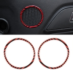 2 in 1 Car Carbon Fiber Door Horn Ring Small Size Decorative Sticker for Ford Mustang, Diameter: 8.3cm