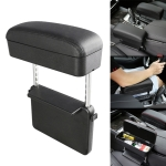 Universal Car PU Leather Wrapped Armrest Box Cushion Car Armrest Box Mat with Storage Box (Black)