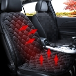 Car 24V Front Seat Heater Cushion Warmer Cover Winter Heated Warm, Single Seat (Black)
