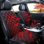 Car 24V Front Seat Heater Cushion Warmer Cover Winter Heated Warm, Double Seat (Black)