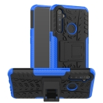 For OPPO Realme 5 Tire Texture TPU + PC Shockproof Case with Holder(Blue)