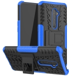 For OPPO RENO 2 Tire Texture TPU + PC Shockproof Case with Holder(Blue)