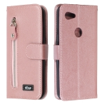 For Google Pixel 3a Zipper Horizontal Flip Leather Case with Wallet & Holder & Card Slots(Rose Gold)