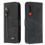 For Huawei P30 Zipper Horizontal Flip Leather Case with Wallet & Holder & Card Slots(Black)