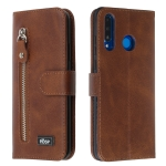 For Huawei P30 Lite / nova 4e Zipper Horizontal Flip Leather Case with Wallet & Holder & Card Slots(Brown)