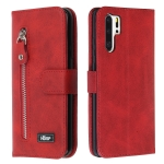 For Huawei P30 Pro Zipper Horizontal Flip Leather Case with Wallet & Holder & Card Slots(Red)