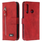 For Huawei P Smart Z Zipper Horizontal Flip Leather Case with Wallet & Holder & Card Slots(Red)