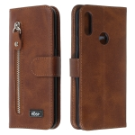 For Huawei Y6 (2019) / Honor 8A Zipper Horizontal Flip Leather Case with Wallet & Holder & Card Slots(Brown)