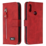 For Huawei Y7 (2019) Zipper Horizontal Flip Leather Case with Wallet & Holder & Card Slots(Red)