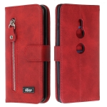 For Sony Xperia XZ2 Zipper Horizontal Flip Leather Case with Wallet & Holder & Card Slots(Red)