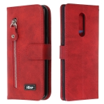 For Sony Xperia 1 Zipper Horizontal Flip Leather Case with Wallet & Holder & Card Slots(Red)