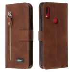 For Xiaomi Redmi 7 / Y3 Zipper Horizontal Flip Leather Case with Wallet & Holder & Card Slots(Brown)