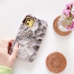 For iPhone 11 Pro Max Solid Color Plush Phone Protect Case(Coffee)