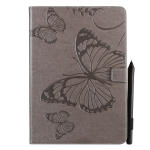 iPad 10.2 / Pro 10.5 / Air  2019 Pressed Printing Butterfly Pattern Horizontal Flip PU Leather Case with Holder & Card Slots & Wallet & Pen Slot(Grey)