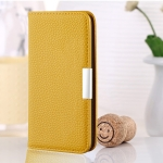 For Galaxy S10 Plus Litchi Texture Horizontal Flip Leather Case with Holder & Card Slots(Yellow)