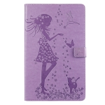 For Galaxy Tab A 10.1 (2019) Pressed Printing Woman and Cat Pattern Horizontal Flip Leather Case with Holder & Card Slots & Wallet(Purple)