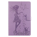 For Galaxy Tab S5e Pressed Printing Woman and Cat Pattern Horizontal Flip Leather Case with Holder & Card Slots & Wallet(Purple)