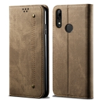 For Huawei P Smart Z / Y9 Prime Denim Texture Casual Style Horizontal Flip Leather Case with Holder & Card Slots & Wallet(Khaki)