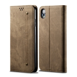 For iPhone XR Denim Texture Casual Style Horizontal Flip Leather Case with Holder & Card Slots & Wallet(Khaki)