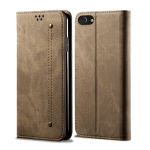 For iPhone 7 / 8 Denim Texture Casual Style Horizontal Flip Leather Case with Holder & Card Slots & Wallet(Khaki)