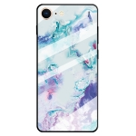 For iPhone 8 & 7 Marble Pattern Glass Protective Case(Ink Purple)