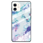 For iPhone 11 Marble Pattern Glass Protective Case(Ink Purple)