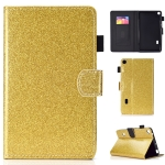For Huawei MediaPad T3 7.0 Varnish Glitter Powder Horizontal Flip Leather Case with Holder & Card Slot(Gold)