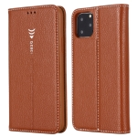 For iPhone 11 Pro Max GEBEI PU+TPU Horizontal Flip Protective Case with Holder & Card Slots(Brown)