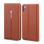 For iPhone XS / X GEBEI PU+TPU Horizontal Flip Protective Case with Holder & Card Slots(Brown)