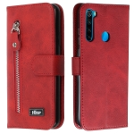 For Xiaomi Redmi Note 8 Zipper Horizontal Flip Leather Case with Wallet & Holder & Card Slots(Red)