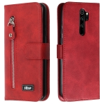 For Xiaomi Redmi Note 8 Pro Zipper Horizontal Flip Leather Case with Wallet & Holder & Card Slots(Red)