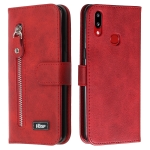 For Galaxy A10s Zipper Horizontal Flip Leather Case with Wallet & Holder & Card Slots(Red)