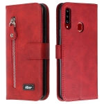 For Galaxy A20s Zipper Horizontal Flip Leather Case with Wallet & Holder & Card Slots(Red)