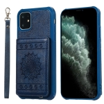 For iPhone 11 Sunflower Embossing Pattern PU + TPU Case with Holder & Card Slots & Photo Frame & Lanyard(Blue)