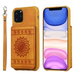 For iPhone 11 Pro Max Sunflower Embossing Pattern PU + TPU Case with Holder & Card Slots & Photo Frame & Lanyard(Brown)