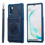 For Galaxy Note10 Sunflower Embossing Pattern PU + TPU Case with Holder & Card Slots & Photo Frame & Lanyard(Blue)