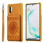 For Galaxy Note10+ Sunflower Embossing Pattern PU + TPU Case with Holder & Card Slots & Photo Frame & Lanyard(Brown)