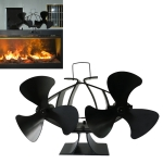 6-Blade Aluminum Heat Powered Fireplace Stove Fan