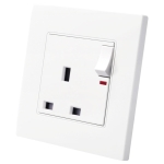 86 Type PC 13A Three Hole Power Socket with Light Switch, UK Plug