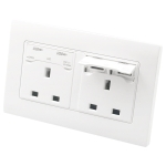 86 Type Three Hole USB Power Socket, UK Plug