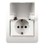Ceramic Power Waterproof Socket with Cover, EU Plug