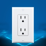 PC Double-connection Power Socket Switch, US Plug, Square White UL Two Opening Single Control
