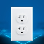 PC Double-connection Power Socket Switch with USB, US Plug, Square White UL 20A Double Plug