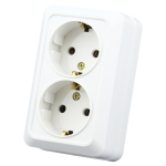 IP44 Wall-mounted Double-connection Socket, EU Plug